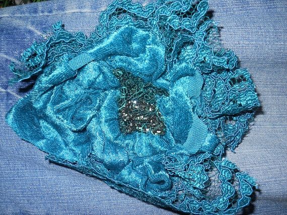 Belle Époque Turquoise bohemian jean skirt with teal VELVET!!  by bohemienneivy,