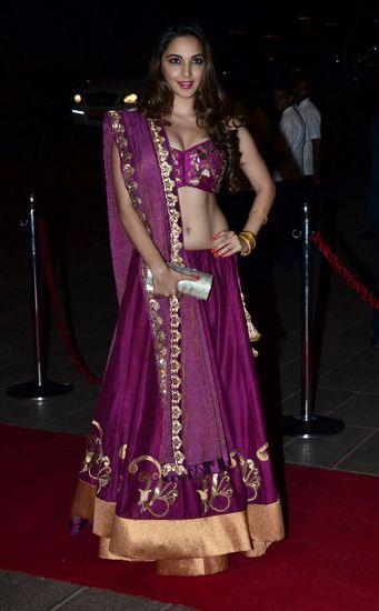 Kiara Advani In A Purple #Lehenga At Arpita Khan's Reception.
