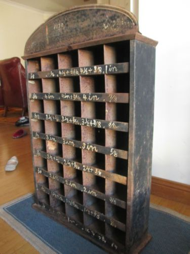 Vintage Rustic Metal Pigeon Holes Display Shelving Unit