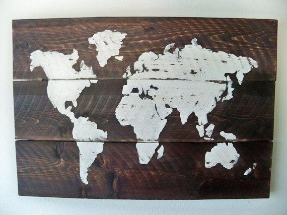 World Map Wall Decor Wood : World map wood wall hanging on dark walnut or grey stain