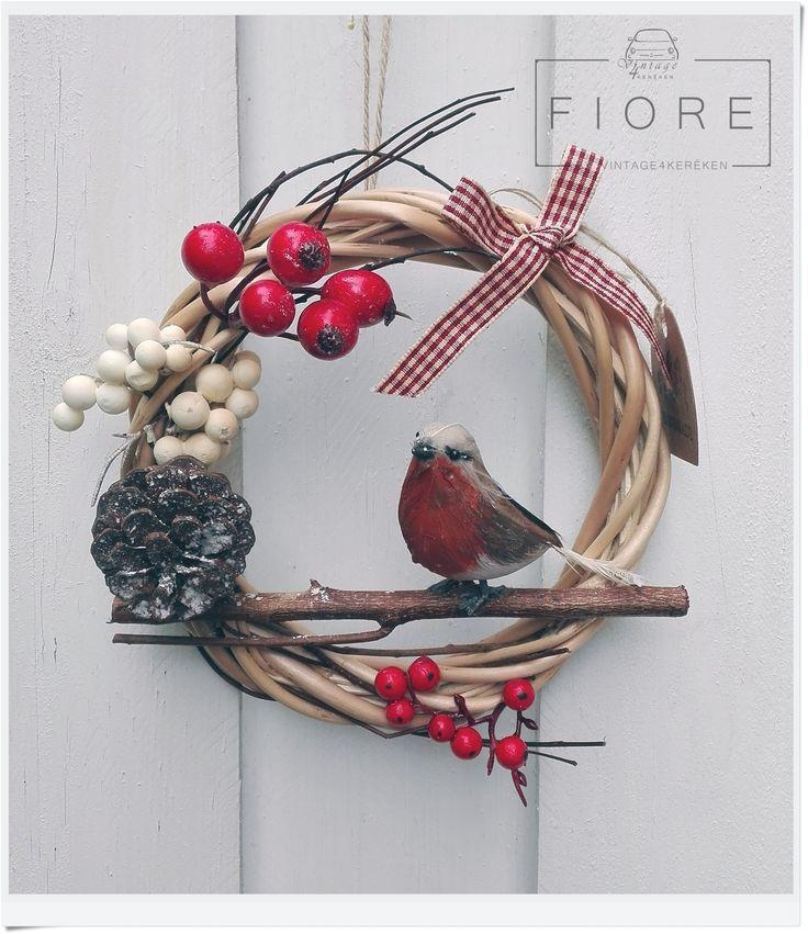 PETTIROSSO ajtódísz, koszorú, kopogtató  Robin door wreath #robin #christmas #wreath #handmade
