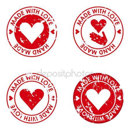 Vyrobené s láskou a ručně vyrobené známky konceptem pro použití v desig — Stocková ilustrace #63997199