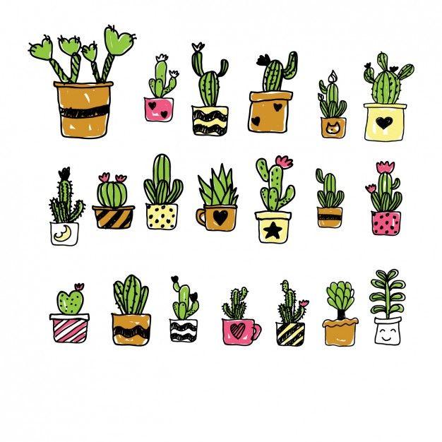 Colección de cactus de dibujo pintados a mano Vector Gratis