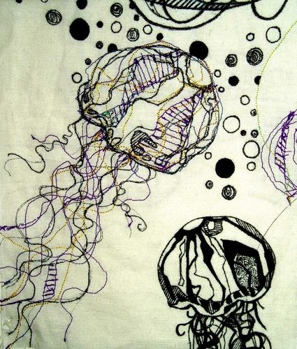 jellyfish (2007) | cotton machine embroidery & ink on linen | sarah-lou newman..