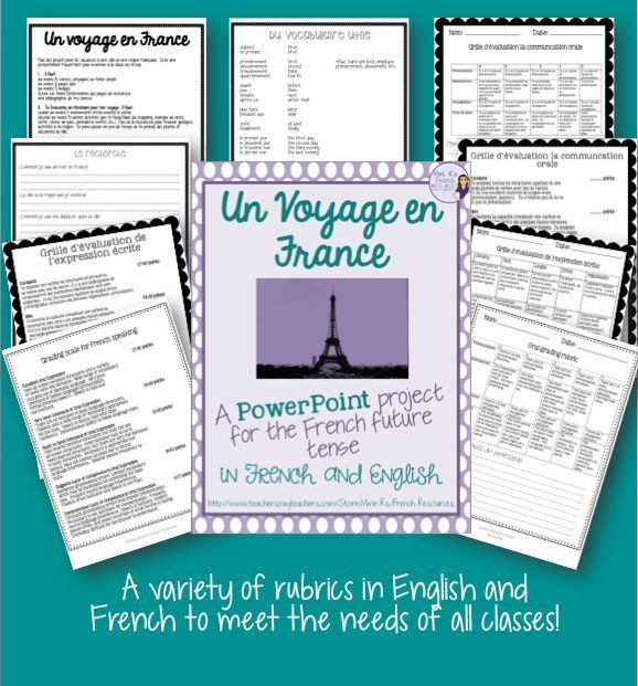 Un Voyage en France is an assessment that I use at the end of a unit on the French future tense. Students are asked to research a French city that they are interested in visiting and create a Power Point using the future tense to describe a vacation they are planning. Students research their city using the provided guiding questions, and then create the Power Point to present to the class.