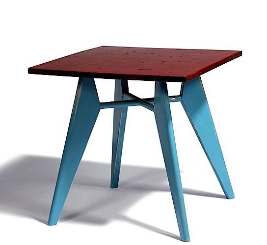1953_ 'Guéridon' de cafétéria with pietement in lacquered aluminum in bleu by jean prouvé