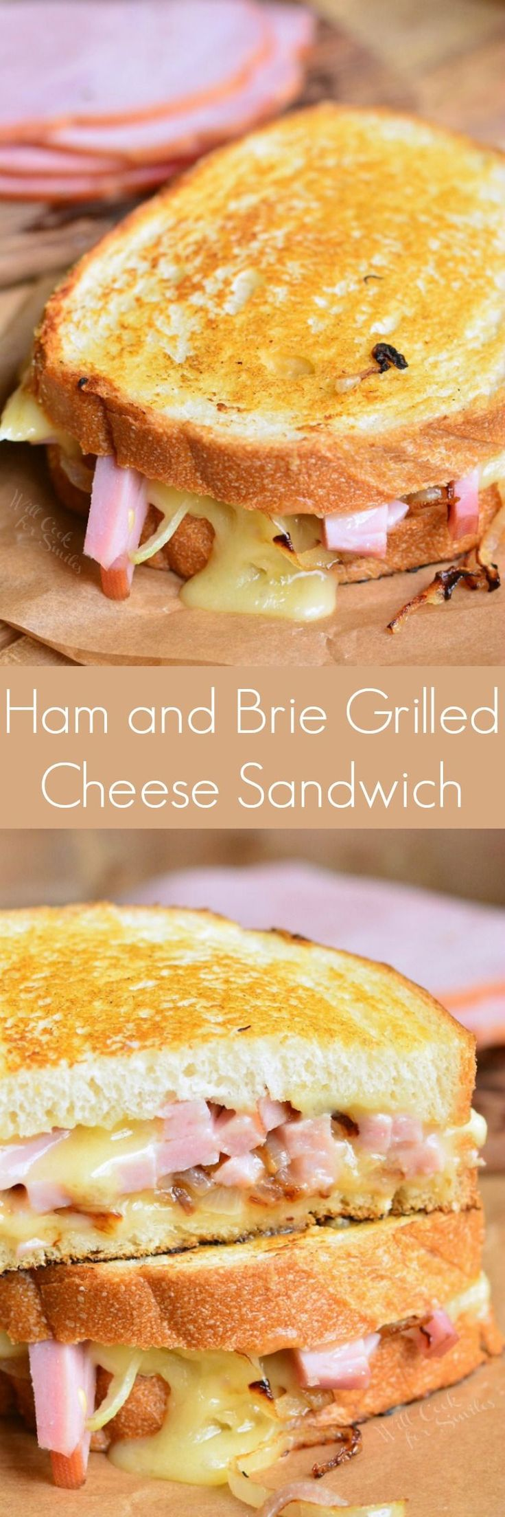 Ham and Brie Grilled Cheese Sandwich ~ grilled cheese sandwich made with ham, brie cheese, sauteed onions, and some maple mustard glaze! #leftoverham #grilledcheese