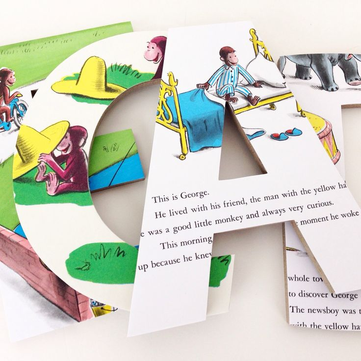 curious george custom wood letters childrens book pages nursery alphabet dcor storybook name art monkey nursery