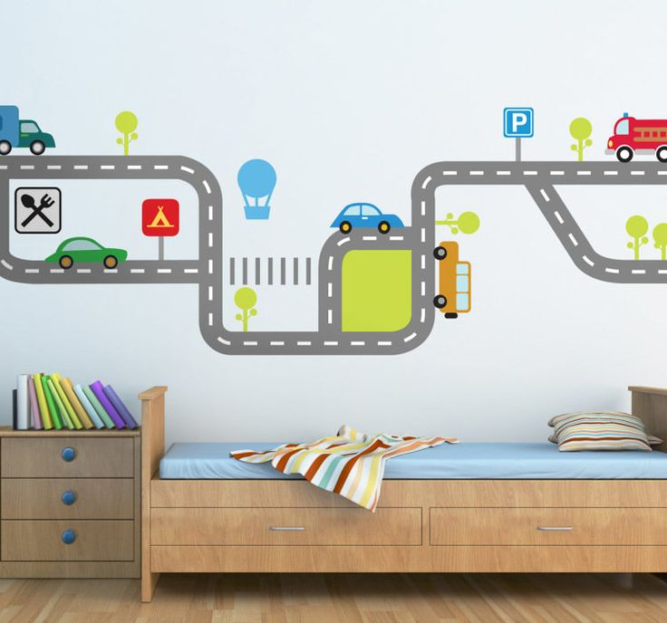 Kids road traffic wall decal tenstickers how decor for Boy car bedroom ideas