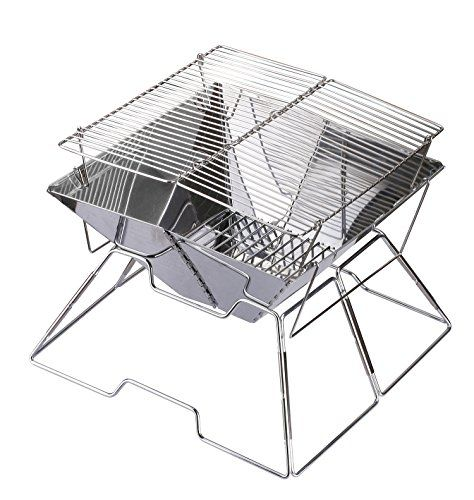 Charcoal BBQ Grill,Collapsible Protable Quick Grill Medium,Made from Stainless Steel(Quadrilateral) *** Find out more about the great product at the image link.