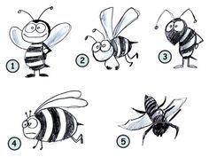 How to draw a cartoon bee