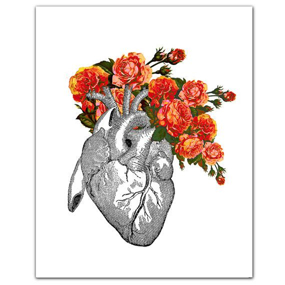"""Vintage Heart with Roses - ART Print 8"""" x 10"""""""