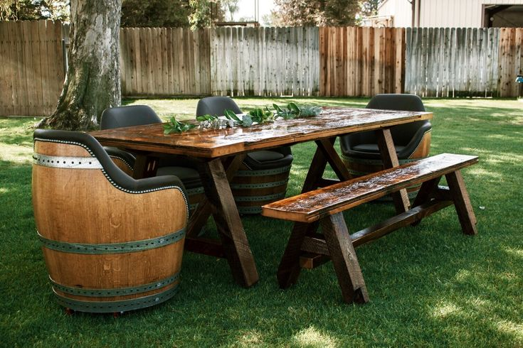Barn Wood Farm Table With Matching Bench And Barrel Chairs