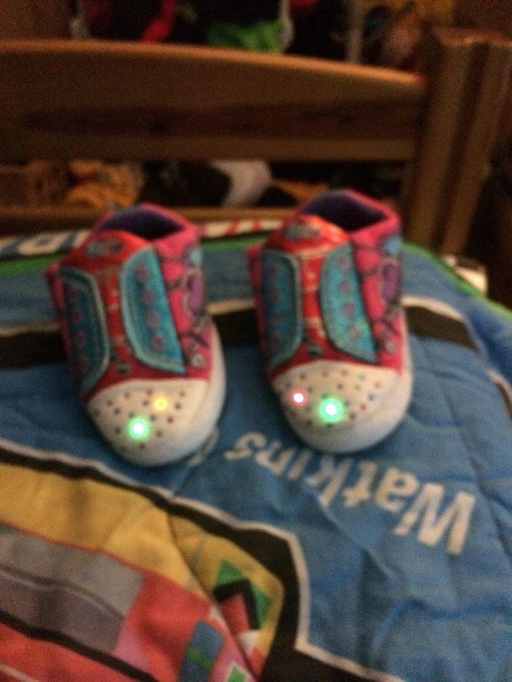 The Sketchers Slippers' Lights! The right slipper is somehow missing the red one... I got them without it, so don't blame me!
