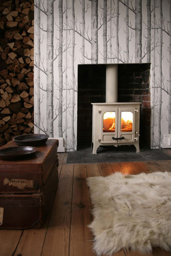 "Beautiful woodburner fire brought to life with Cole & Son Contemporary II collection ""Woods"" #wallpaper feature wall"