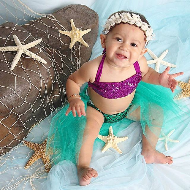 Beautiful Merbabe wears our mermaid cake smash sparkle crop and bloomers outfit in purple and jade!  How perfect are these mermaid backdrops and props  you guys are amazing!!! Love all of your DIY ideas!  Have a