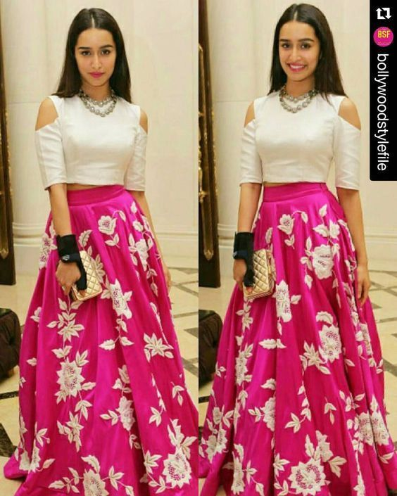Crop Top And Skirt In Silk Prom Dress Indian Bridal WearIndian OutfitsIndian Wedding
