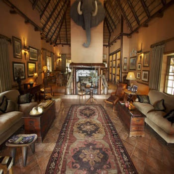 In old colonial style, you are greeted in Kapama Lodge library-lounge by an enormous elephant head with tusks almost 2 metres long. This is a replica of one of Africa's great tuskers, just to remind you that beyond the perimeter fence lies untamed Africa.