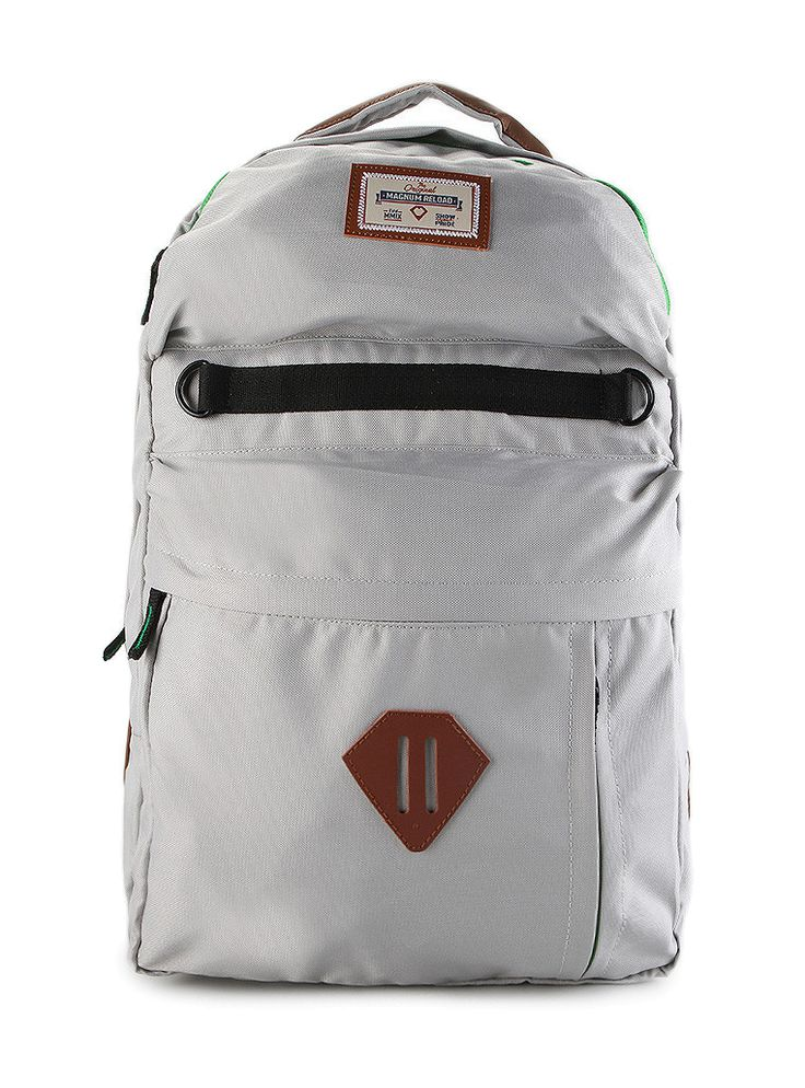 Camp Cord Backpack by MAGNUM RELOAD. Bacpack with a pocket details in front with hidden pocket, brown patch in front. This gray backpack made from polyester, one main compartment, zipper closure, laptop sleeve, top carry handle, adjustable shoulder straps, perfect backpack for short holiday. http://www.zocko.com/z/JKW2d