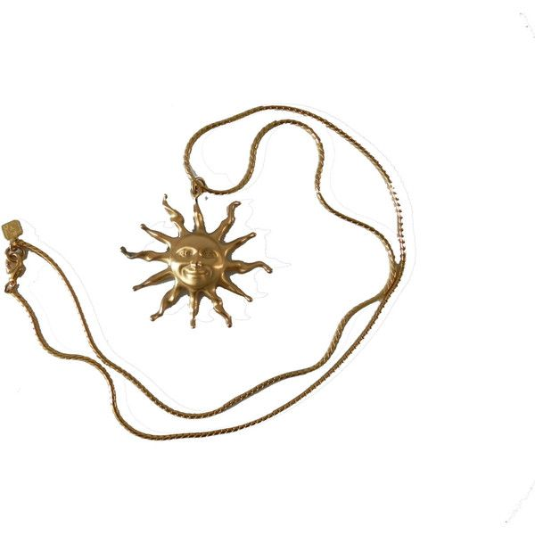 Vintage Anne Klein Happy Sun Pendant (295 DKK) ❤ liked on Polyvore featuring jewelry, necklaces, accessories, fillers, gold chain jewelry, anne klein jewelry, chains jewelry, chain pendants and gold chain pendant