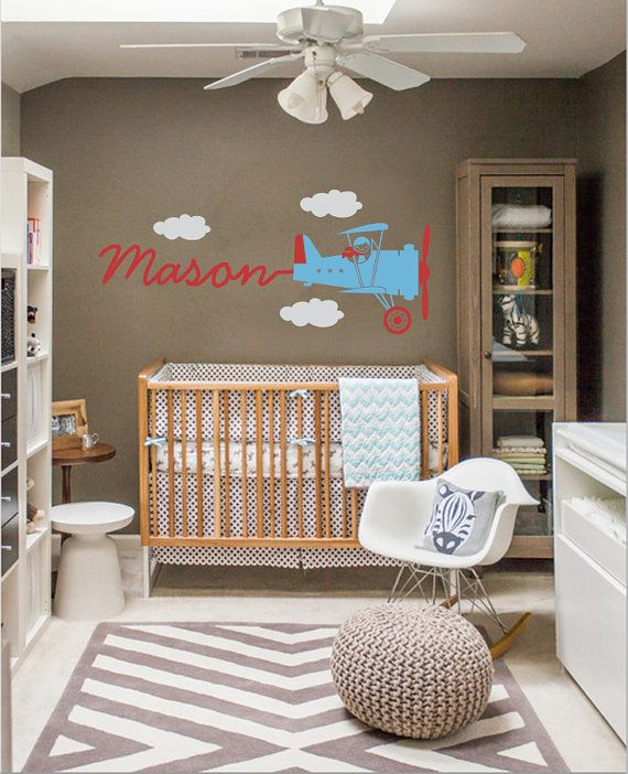 Vintage Airplane Wall Decal Skywriter for Nursery Baby Children, Custom nursery vinyl wall decals,Kidsteens room, Removable decals stickers on Etsy, $49.99