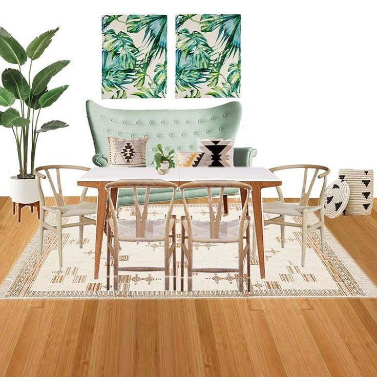 anthropology mint settee, urban outfitters kilim throw pillows, palm leaf print roman shades, the citizenry black triangle basket, neutral kilim rug, wishbone chairs, midcentury planter, banana tree, west elm dining table