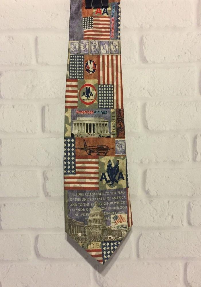 American Airlines Eagles Wings United States Flag Pledge Of Allegiance Silk Tie #EaglesWings #Tie