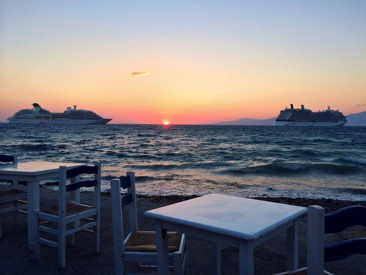 Glorious sunset in Mykonos