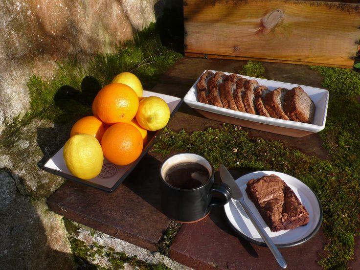Breakfast in garden. Stephen Pearce Pottery.