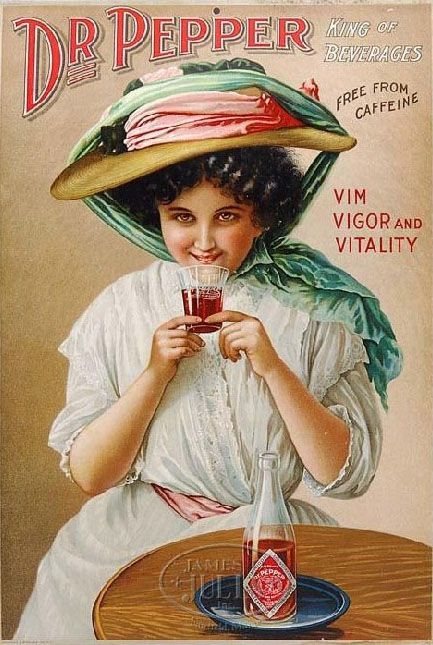"""Dr. Pepper cardboard sign with woman. Early, rare and extremely important stone lithographed advertisement from Dr. Pepper depicts a beguiling young woman holding a flared soda fountain glass etched with """"Dr. Pepper"""". The sign carries the captions """"King of Beverages"""", """"Free From Caffeine"""", """"Vim Vigor and Vitality"""" which were used during the turn of the century, dating this sign to around 1900 to 1910. Lithographed by Kaufmann & Strauss Co., N.Y. Investment grade sign."""