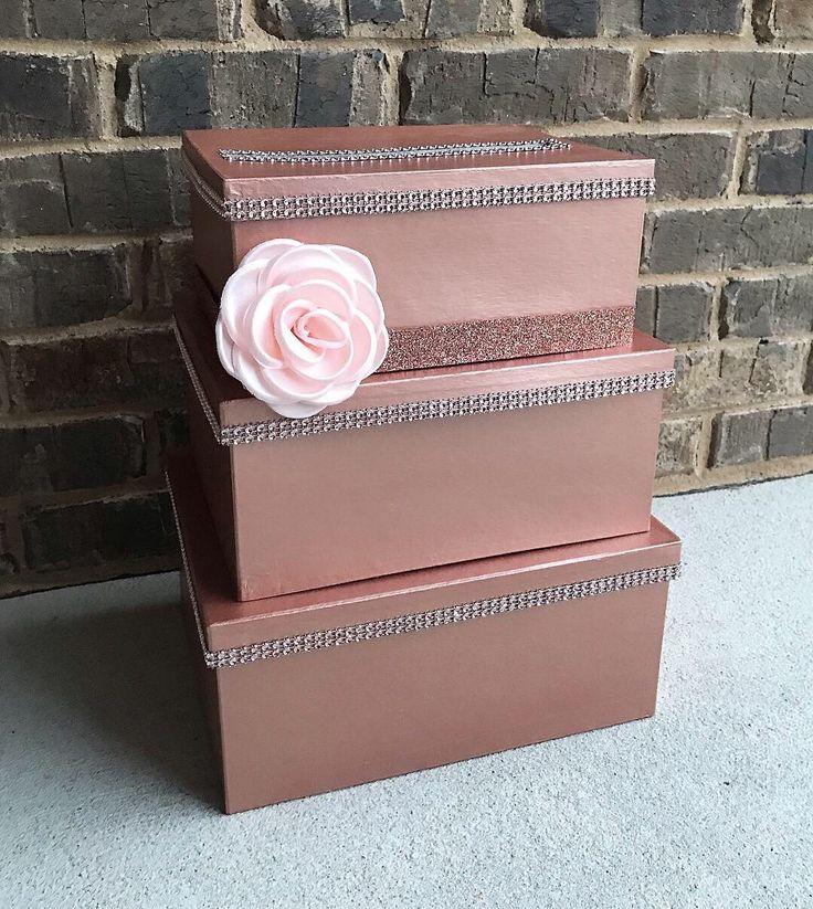 Rose Gold & Blush Pink Card Box Centerpiece, 3 Tier