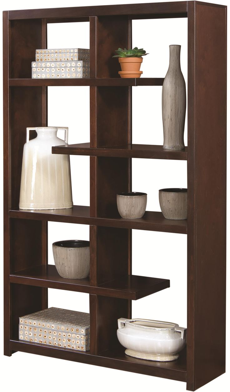 aspenhome essentials lifestyle modern double sided open display case with a variety of shelving options ahfa open bookcase dealer locato