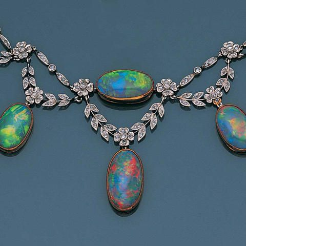 Bella Epoque opal and diamond necklace