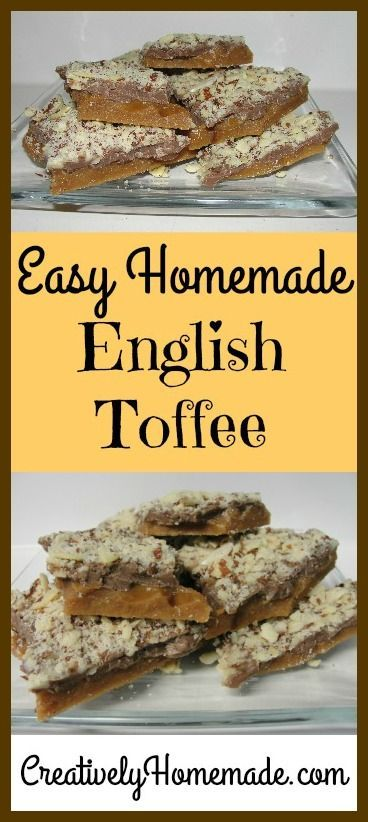 Super easy English Toffee recipe with just 4 ingredients! It tastes just like a Heath bar and is perfect for holiday gift giving.