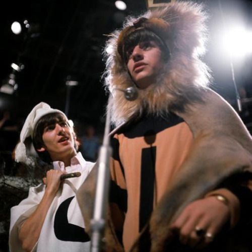 George and Ringo as the Man in the Moon and a Lion in the performance of the tale of Pyramus and Thisbe