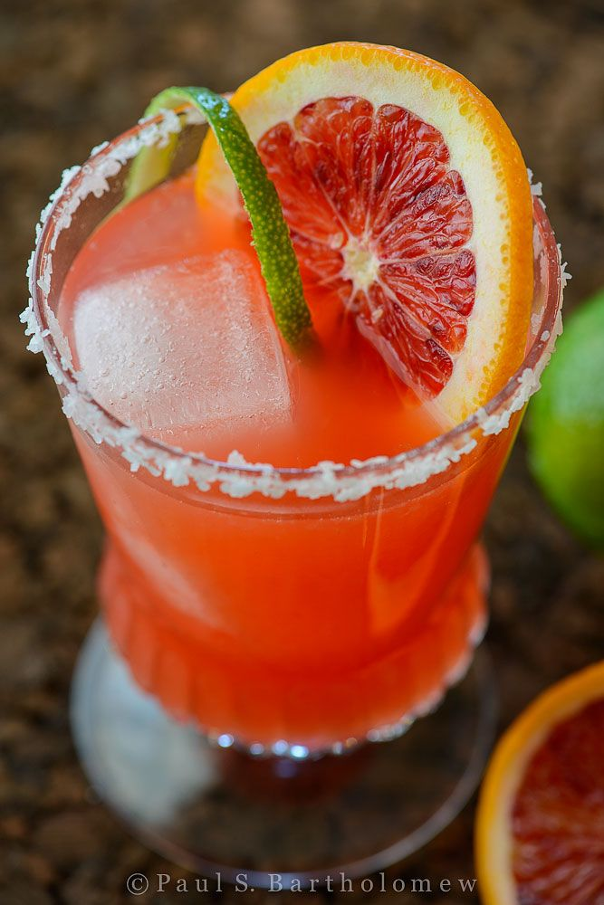 Blood Orange Margarita:  2 ounces of tequila   1-1/2 ounce fresh lime juice  ¾ ounce orange liqueur   1 teaspoon Agave Nectar (or ½ ounce simple syrup)  1 ounce blood orange purée  lime and blood orange wedges or wheels for garnishing