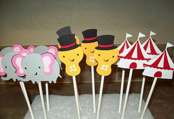 Circus Themed Cupcake Topper by CardCraftersCorner on Etsy, $10.00