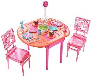 Barbie Dinner To Dessert Dining Room Set by Mattel. $17.49. Features dinner table with a dinner-to-dessert dining set. New Barbie Furniture Collection. Collect all 3 new Barbie furniture collection sets. Each furniture piece contains a surprise transformation. It's room play and transformation fun all in one. From the Manufacturer                Barbie Dinner To Dessert. Dining Room Set: The New Barbie Furniture Collection introduces special surprise transformation featur...