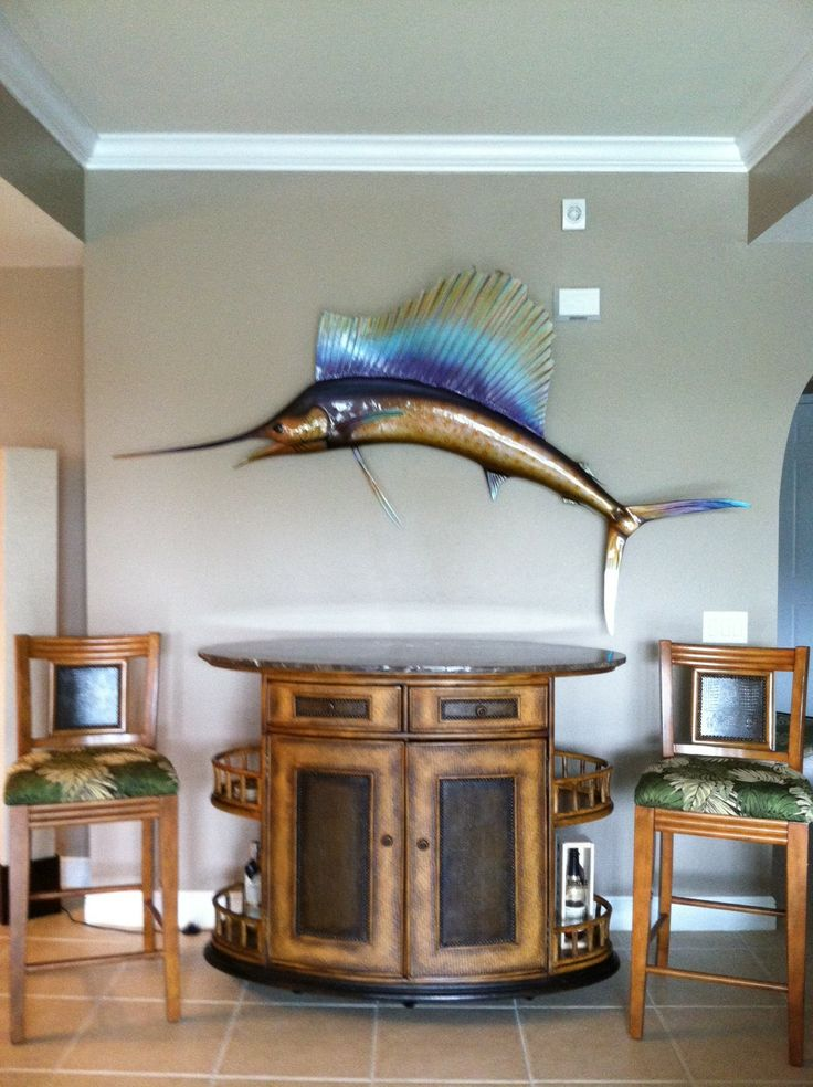 Florida condo. Tommy Bahama bar and sailfish