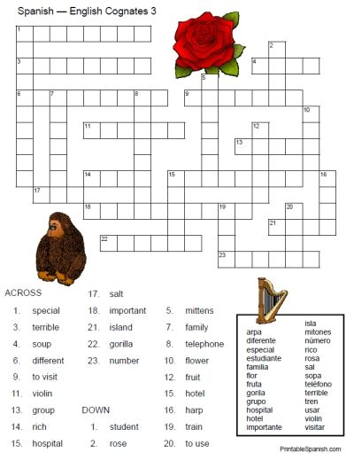 Printable Spanish FREEBIE of the Day:  English-Spanish Cognates Crossword #3!