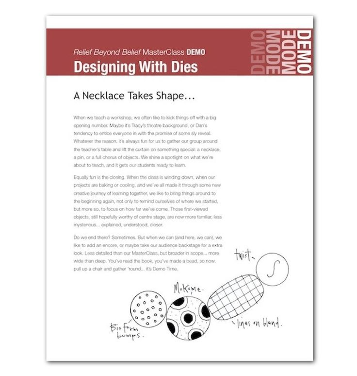 DIGITAL BOOK Designing With Dies A Necklace Takes Shape a digital MasterClass DEMO by Dan Cormier & Tracy Holmes A companion to Relief Beyond B...