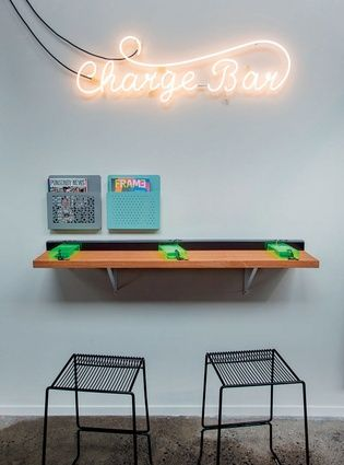 The in store Charge Bar allows customers to securely leave their electronics to charge.  | Duct Tape Workshop (Ponsonby Central, Auckland). | Photo by the talented Jeremy Toth | Fit out by Material Creative.