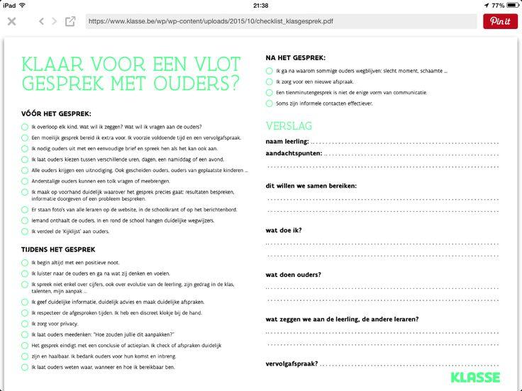 10 minuten gesprekken voeren met ouders checklist. Rapport gesprekken school groep kind leerling