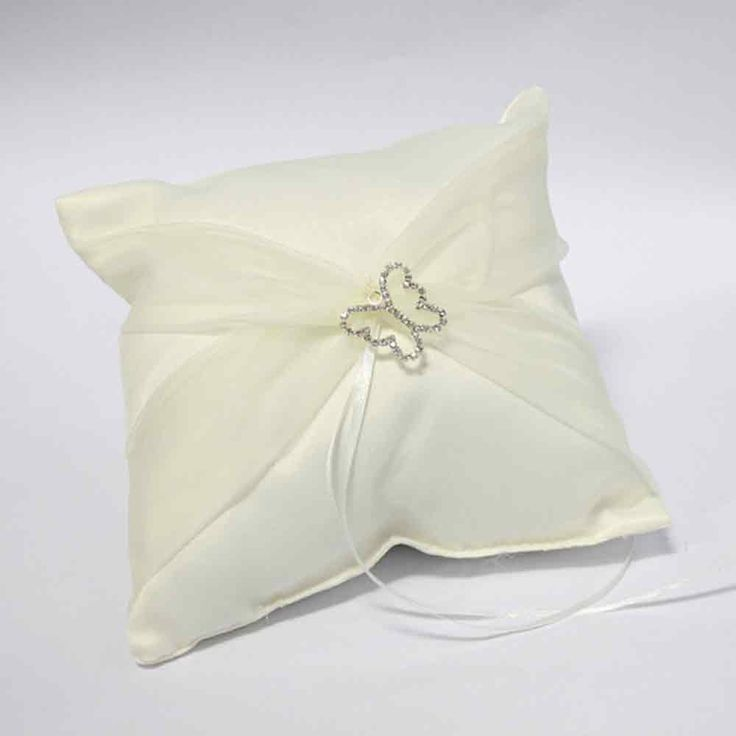 Ivory Butterfly Wedding Ring Pillow