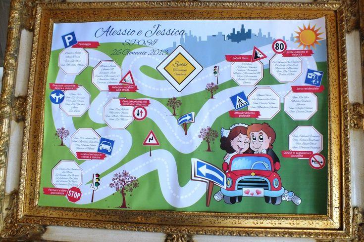 tableau matrimonio con il tema della scuola guida e segnali stradali