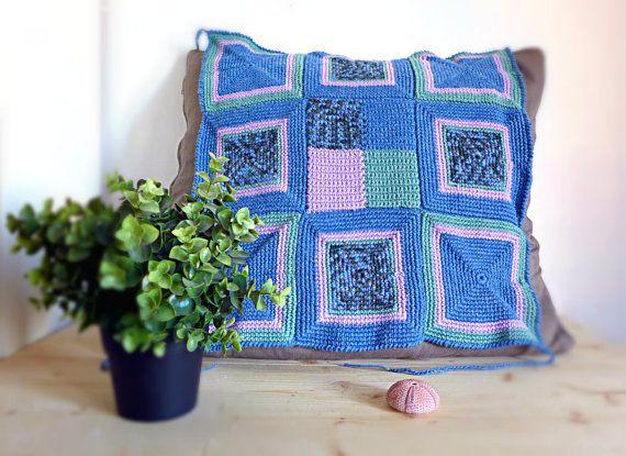 Copri sedia all'uncinetto in lilla verde e blu, copertura per sedie fatta a mano arredo casa shabby chic, coprisedili per auto, PRONTO
