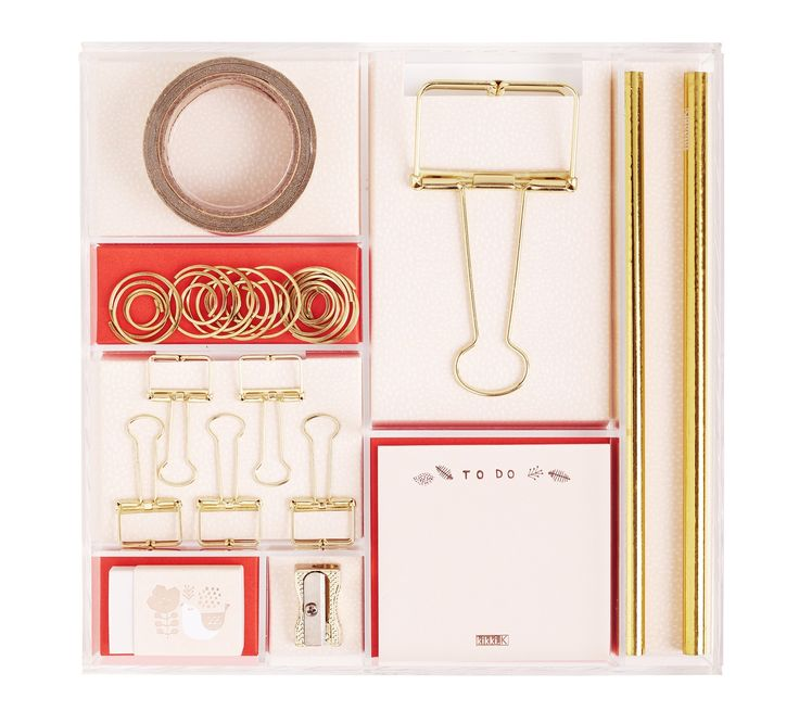 Brighten up your stationery wardrobe with this pretty and fun Stationery Kit, which features adhesive notes, glitter tape, paper clips, an eraser, pencils and more all in soft pink with a hint of gold.