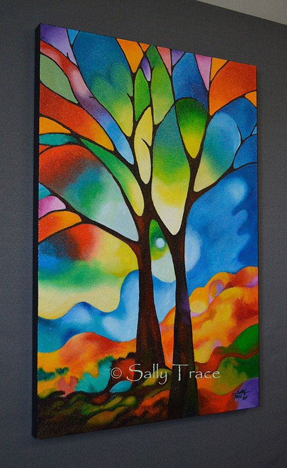 "Abstract tree painting 36x24 inch original abstract landscape tree painting commission, lots of texture, impasto tree ""Two Trees"" tree art"