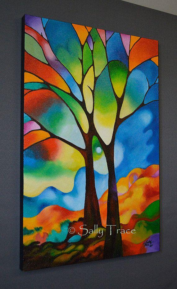 """Abstrakte Malerei 36 x 24 Zoll original abstrakte Landschaft Baum malen, viele Glasmalerei aussehen, Textur, """"Zwei Bäume"""" Baum Kunst"""