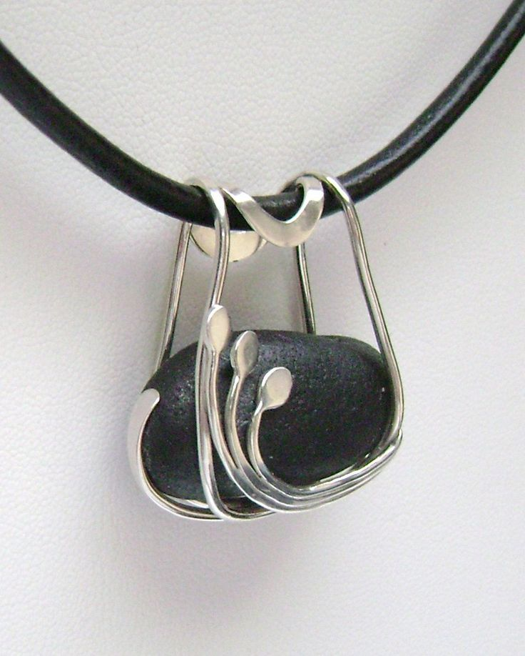 Pendant | Signe Lawson.  Sterling Silver,  Rare Black Scottish Sea Glass